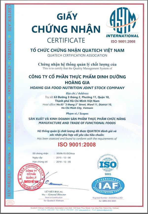 Chứng Nhận Chất Lượng Quốc Tế ISO 9001 : 2008